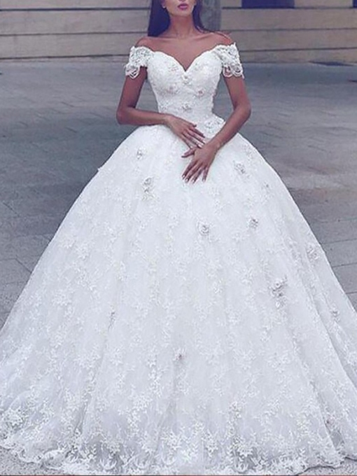 Off-The-Shoulder Flowers Ball Gown Lace Wedding Dress 2019