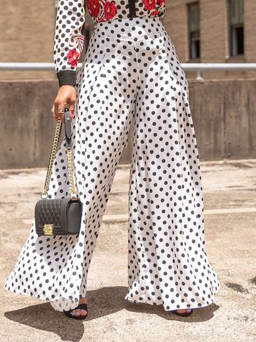Loose Print Polka Dots Wide Legs Women's Casual Pants