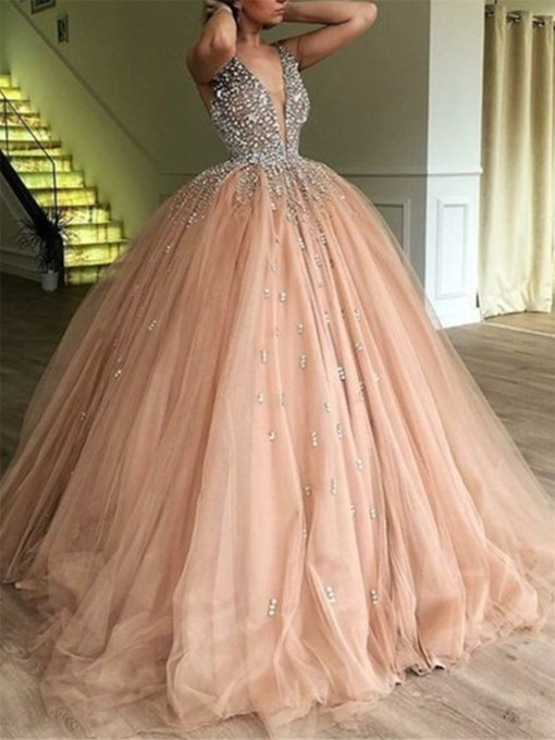 Deep V-Neck Beading Ball Gown Prom Dress 2019