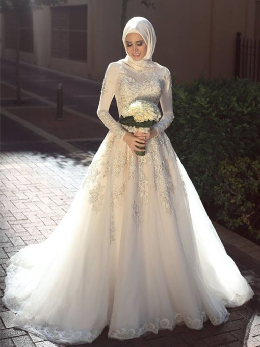 A-Line Long Sleeves Lace Appliques Tulle Church Muslim Wedding Dress