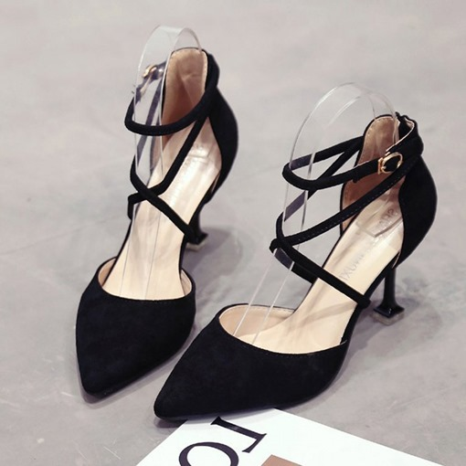Pointed Toe Buckle Buckle Casual Women's Pumps