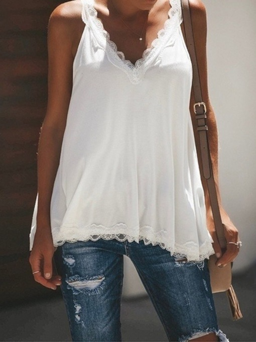 Loose Asymmetric Lace Mid-Length Women's Tank Top