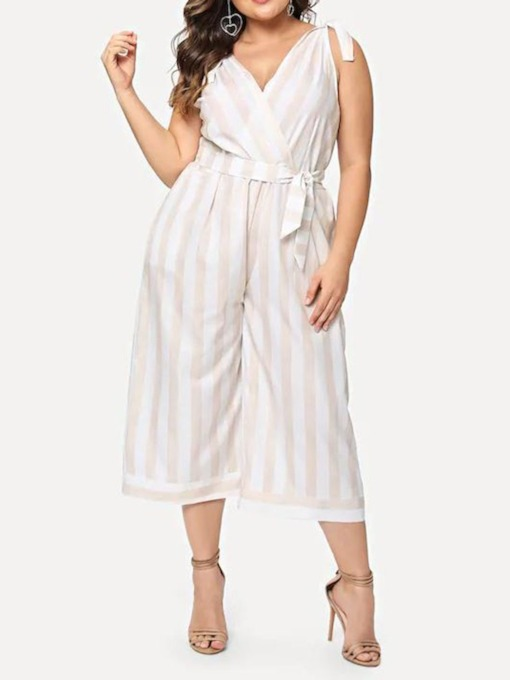 Travel Look Lace-Up Stripe Ankle Length Loose Women's Jumpsuit