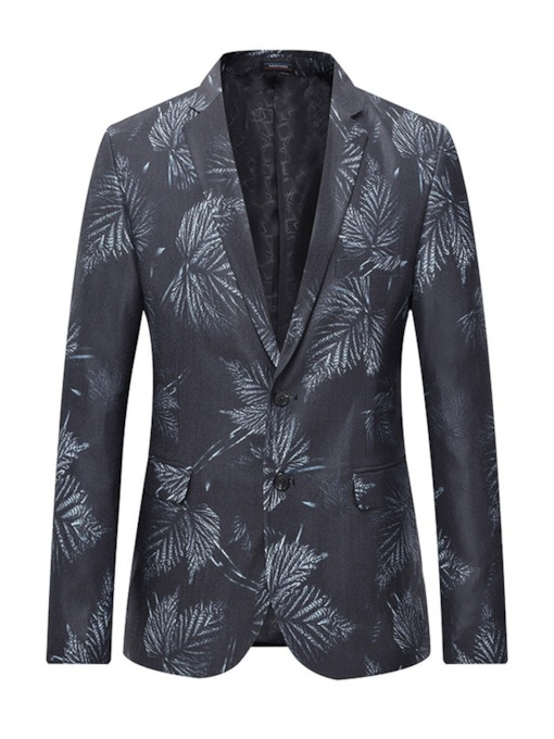 Slim Notched Lapel Print Men's Blazer
