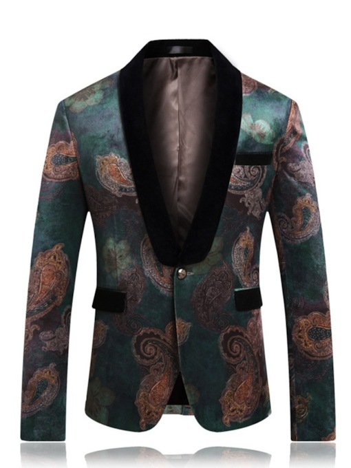 Lapel Slim One Button Floral Men's Blazer