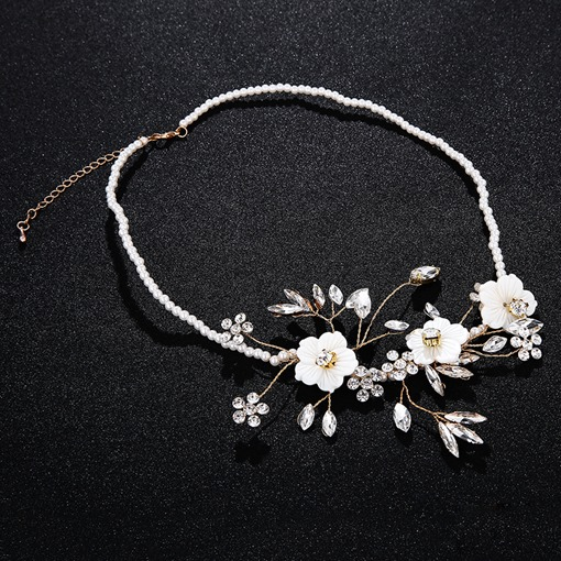 Floral Pearl Inlaid Wedding Necklace