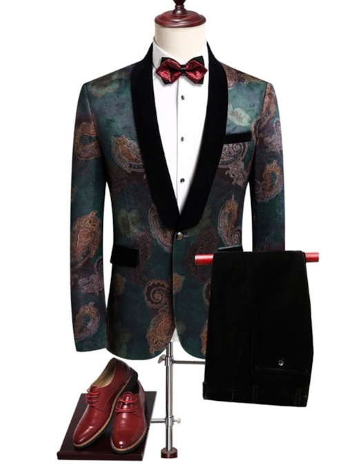 Blazer One Button Floral Men's Dress Suit