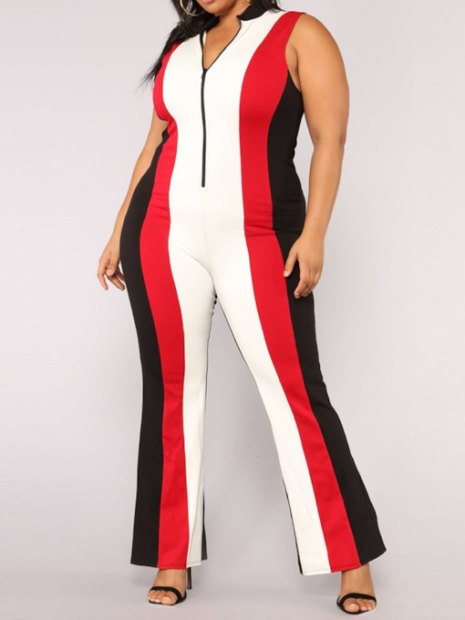 Color Block Zipper Casual Full Length Wide Legs Women's Jumpsuit