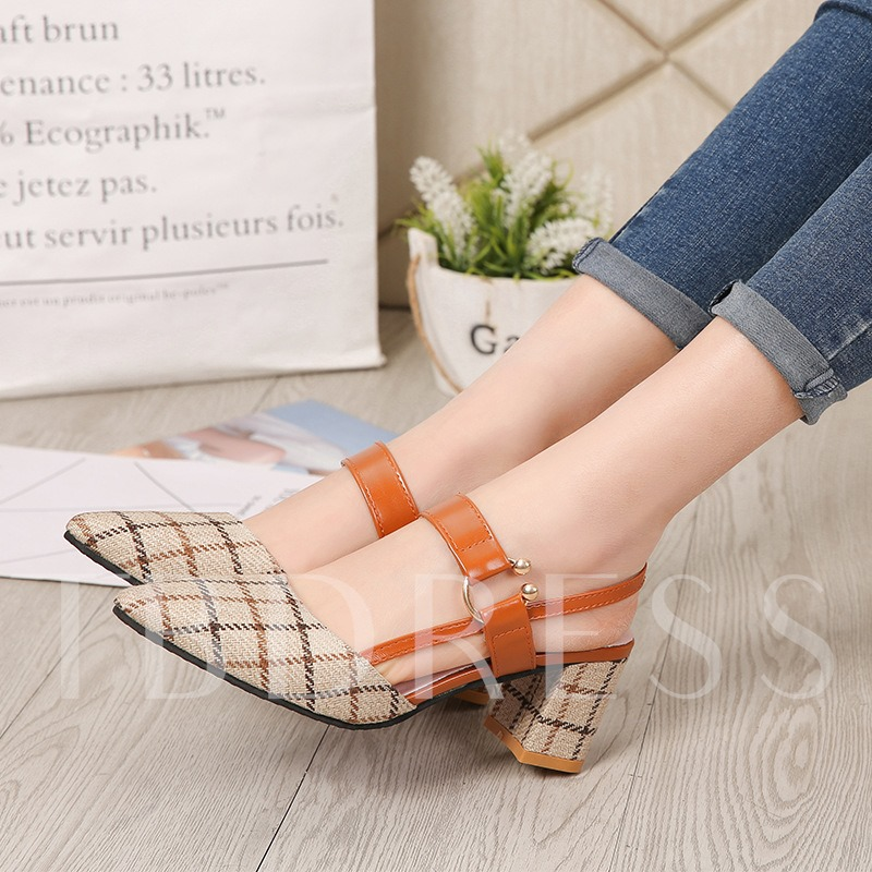 Slingback Strap Pointed Toe Chunky Heel Buckle Plaid Sandals