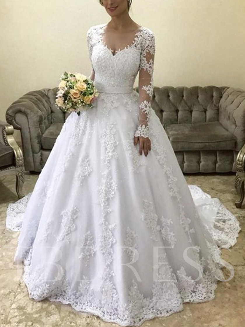 Ball Gown Appliques Long Sleeves Wedding Dress 2019
