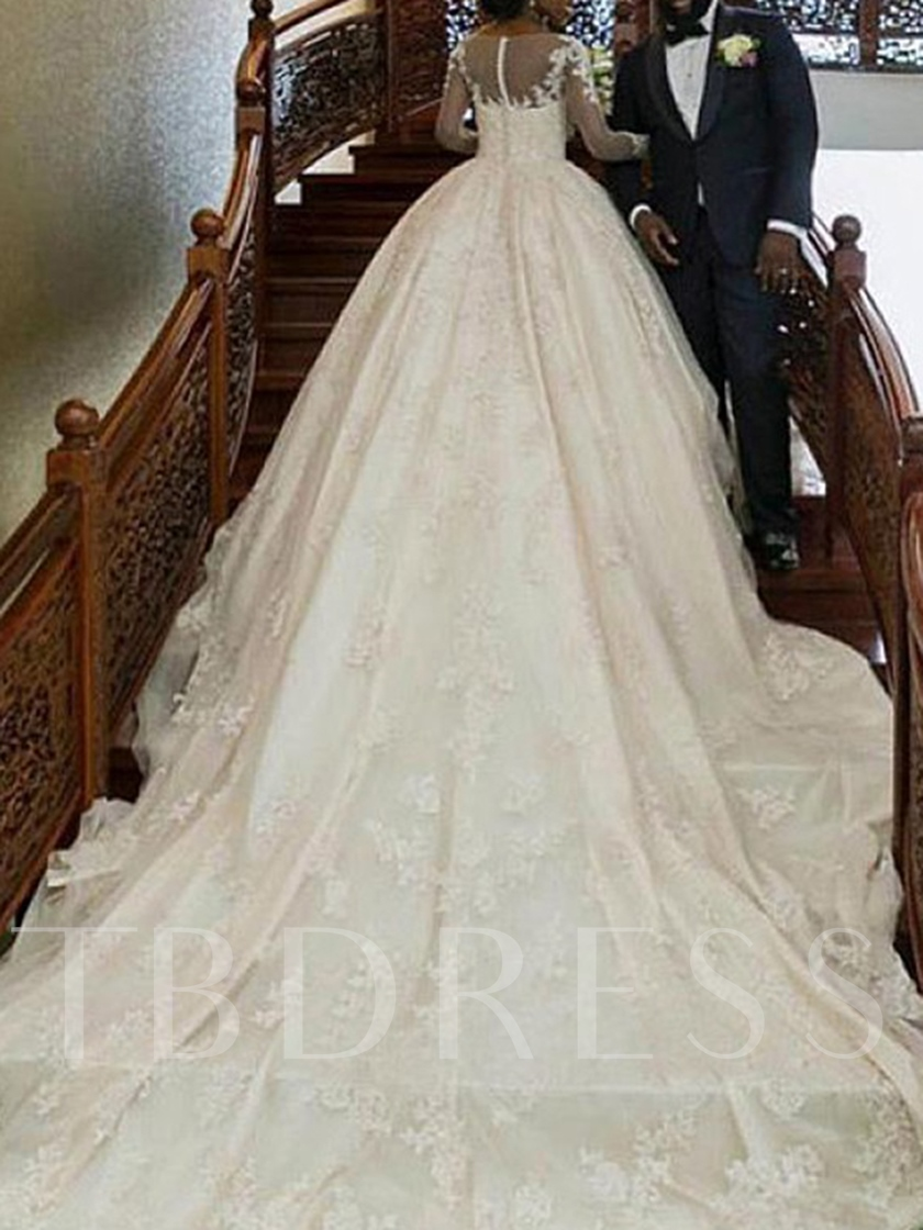 Cathedral Train Ball Gown Appliques Long Sleeve Wedding Dress 2019