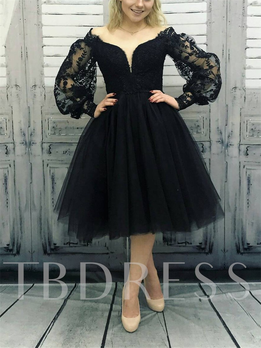 Long Sleeves Off-The-Shoulder Knee-Length Appliques Prom Dress 2019