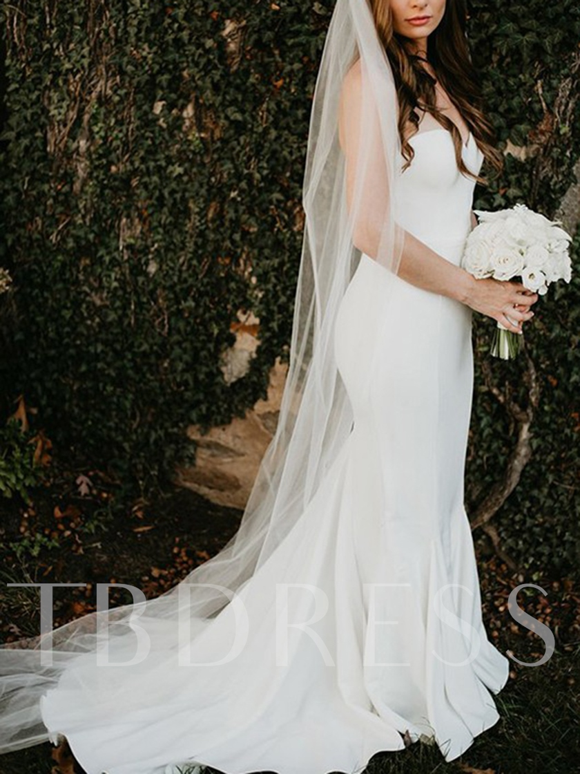 Sweetheart Neckline Trumpet Outdoor Wedding Dress 2019