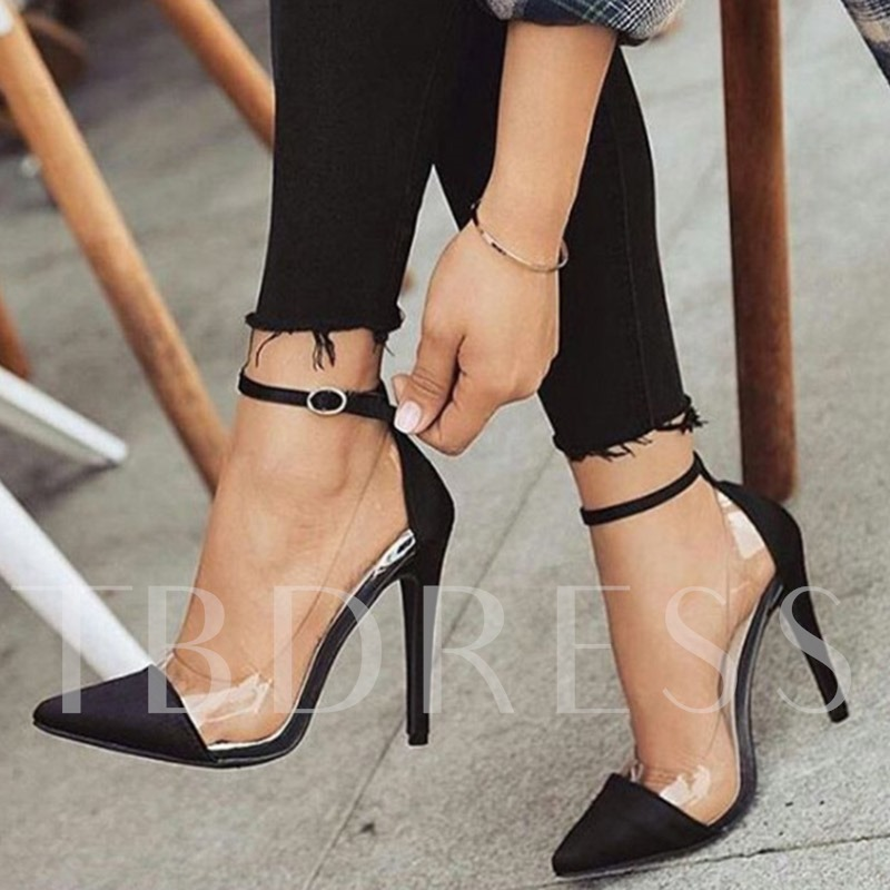 Pointed Toe Buckle Stiletto Heel Buckle Patchwork Women's Pumps