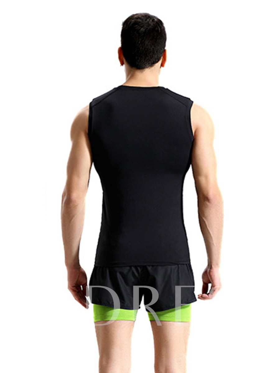 Patchwork Color Block Sleeveless Shorts Training Suit