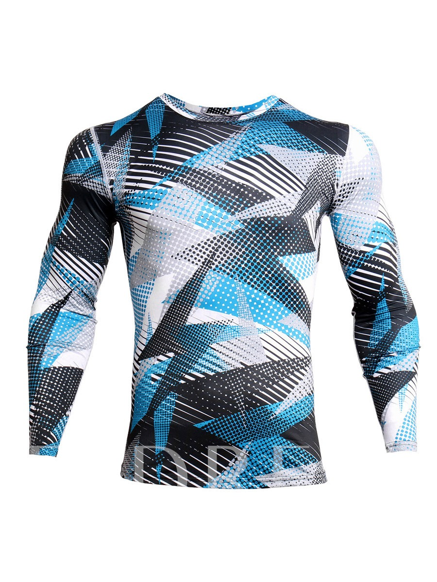 Print Breathable Color Block Men's Long Sleeve Tops