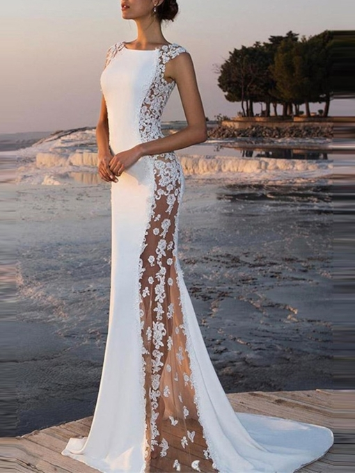 Floor-Length Cap Sleeves Flowers Bateau Evening Dress 2019