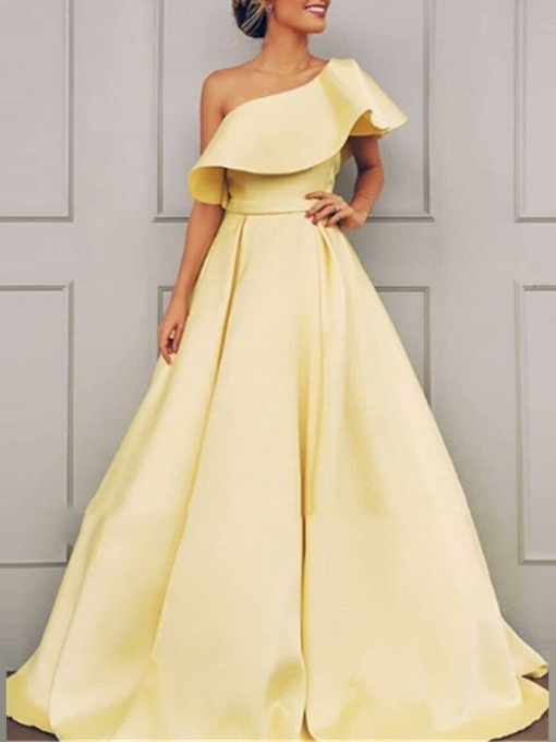 One Shoulder Short Sleeve Yellow Prom Dress