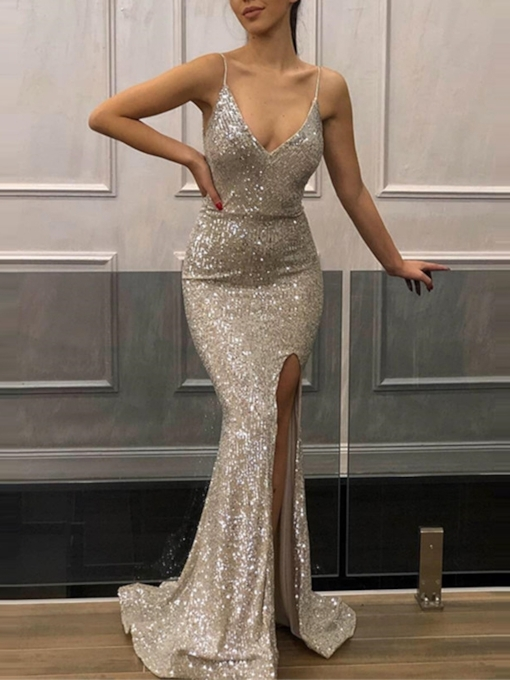 Spaghetti Straps Floor-Length Trumpet Sleeveless Evening Dress 2019