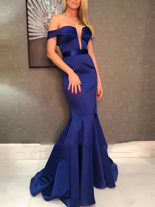 Off-The-Shoulder Short Sleeves Floor-Length Trumpet Evening Dress 2019