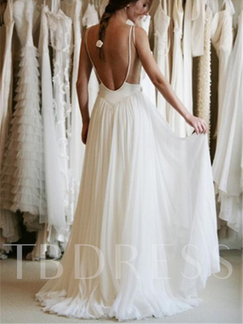 Straps Appliques Backless Beach Wedding Dress 2019