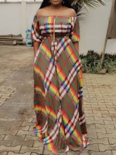 African Fashion Half Sleeve Print Off Shoulder A-Line Women's Maxi Dress