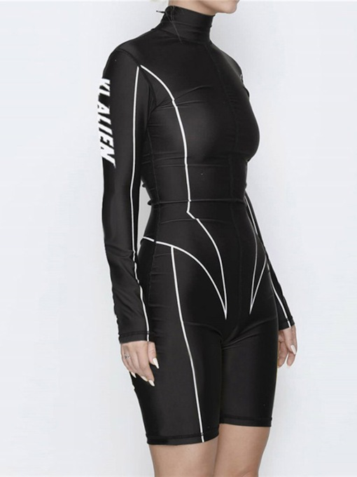 Stripe Printed Sports Long Sleeve Workout Jumpsuit