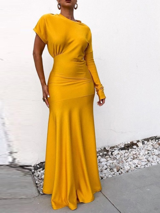 Long Sleeve Round Neck Asymmetric Pullover Women's Maxi Dress