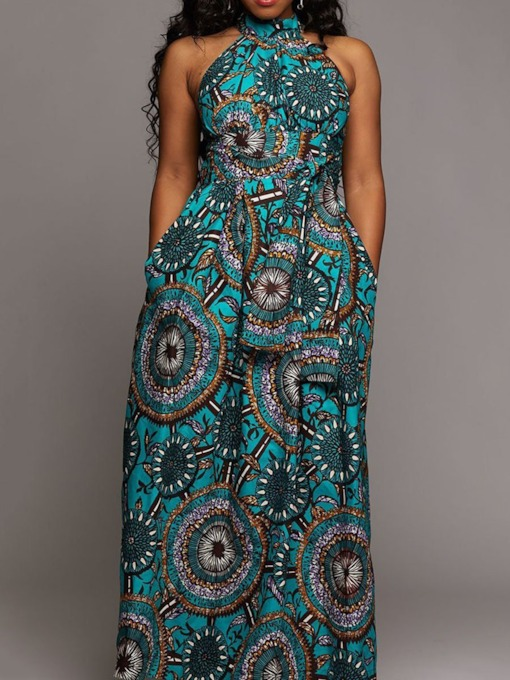 Sleeveless Geometric Print Women's Maxi Dress
