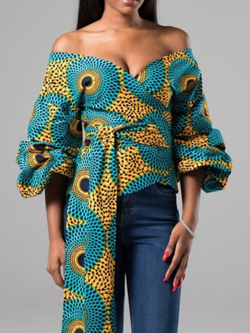 Geometric African Print V-Neck Mid-Length Women's Blouse