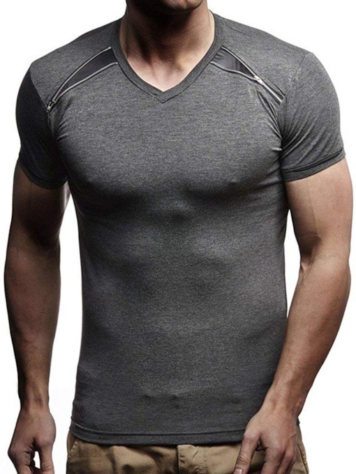 Round Neck Color Block Loose Men's T-shirt