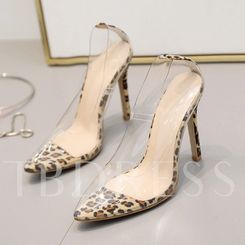 Stiletto Heel Pointed Toe Slip-On See-Through Leopard Pumps