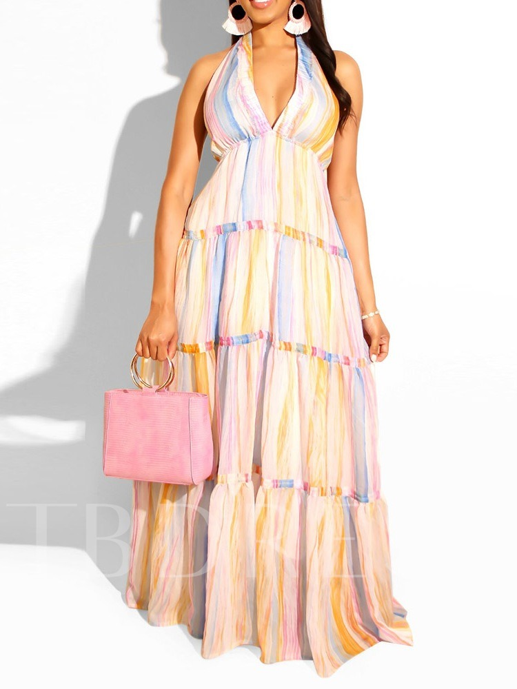 Pleated Sleeveless A-Line Backless Gradient Women's Maxi Dress