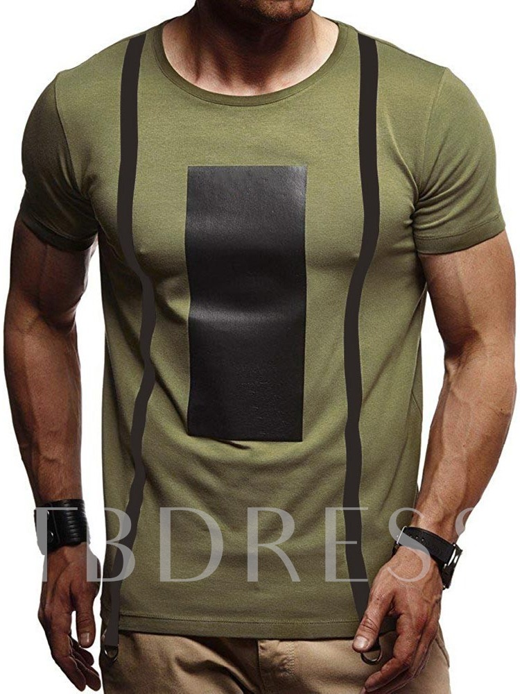 Casual Round Neck Color Block Print Short Sleeve Men's T-shirt