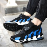 Lace-Up Mid-Cut Upper Round Toe Color Block Sneakers