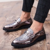 Low-Cut Upper Patchwork Round Toe Sequin Men's Prom Shoes