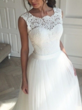 Straps Tulle Lace Beach Wedding Dress