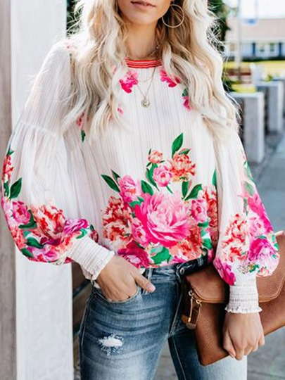 floral print lantern sleeve loose womens blouse