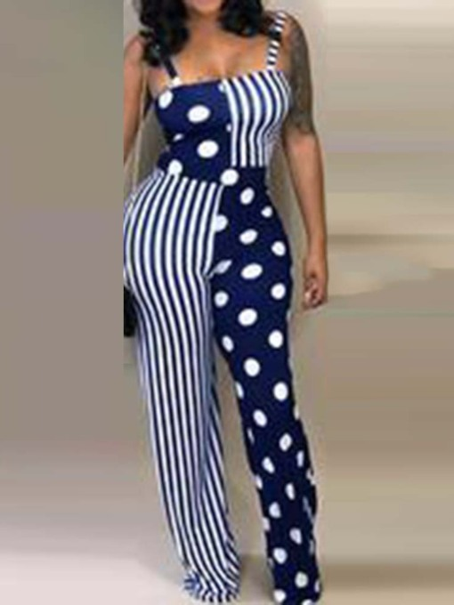 Full Length Polka Dots Casual Print Wide Legs Women's Jumpsuit