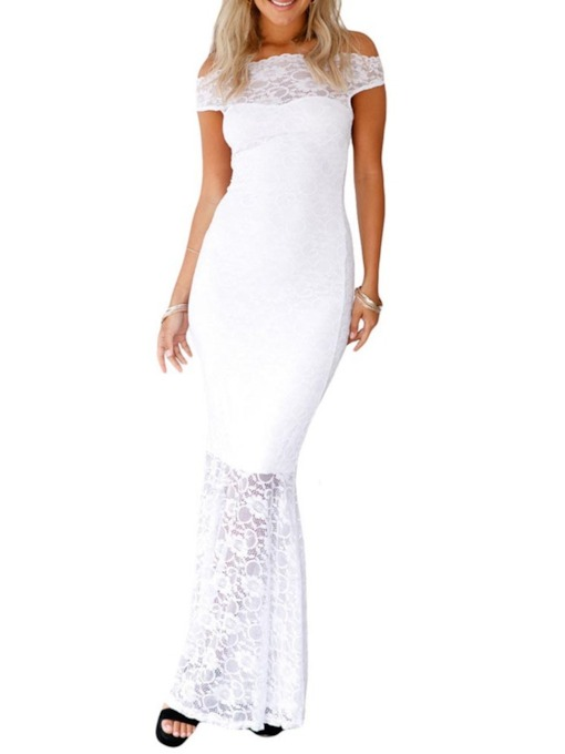 Short Sleeve Lace Off Shoulder Bodycon Women's Maxi Dress