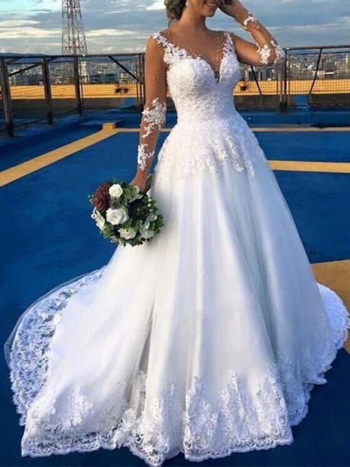 Long Sleeves Appliques Beading Wedding Dress 2019