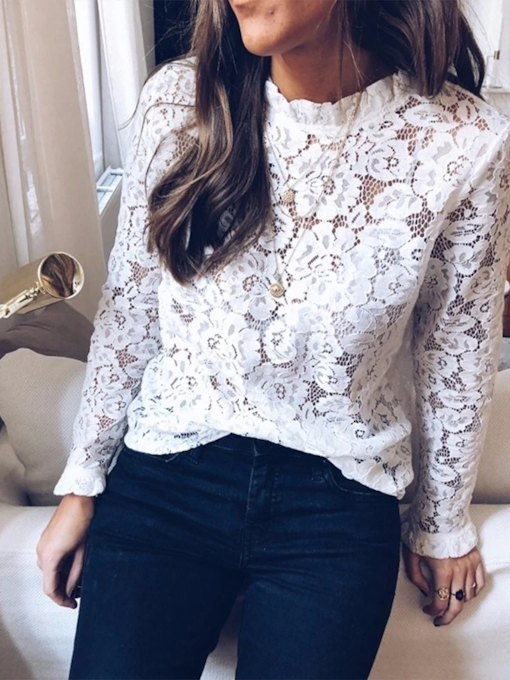 Floral Ruffled Collar Lace Lantern Sleeve Standard Women's Blouse