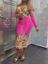 Sexy Print Skirt Leopard Pullover Women's Two Piece Sets