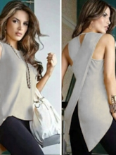 Plain Patchwork African Fashion Sleeveless Women's Blouse