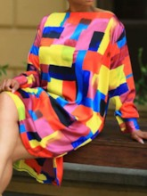 Split Off Shoulder Color Block Women's Long Sleeve Dress