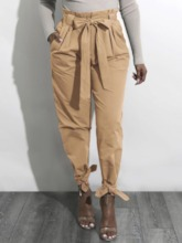 Lace-Up Plain Loose Harem Pants Women's Casual Pants