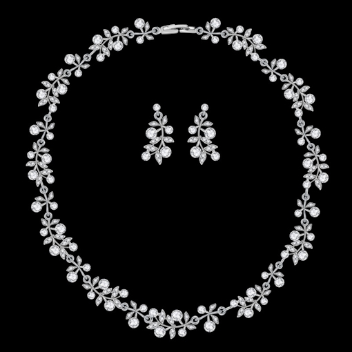 E-Plating Necklace Earrings Floral Wedding Jewelry Sets