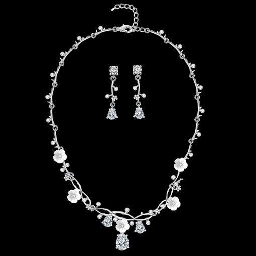 E-Plating Korean Earrings Necklace Jewelry Sets (Wedding)