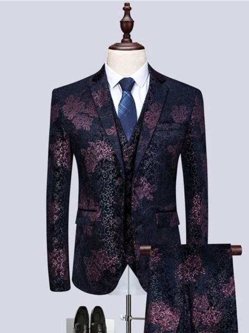 Print Pants Floral Men's Dress Suit
