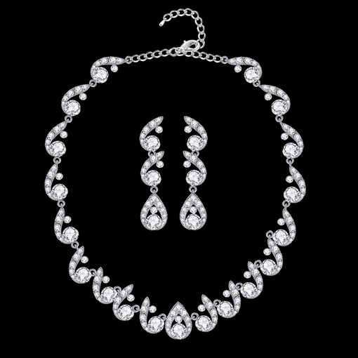 E-Plating Earrings Necklace Floral Jewelry Sets (Wedding)